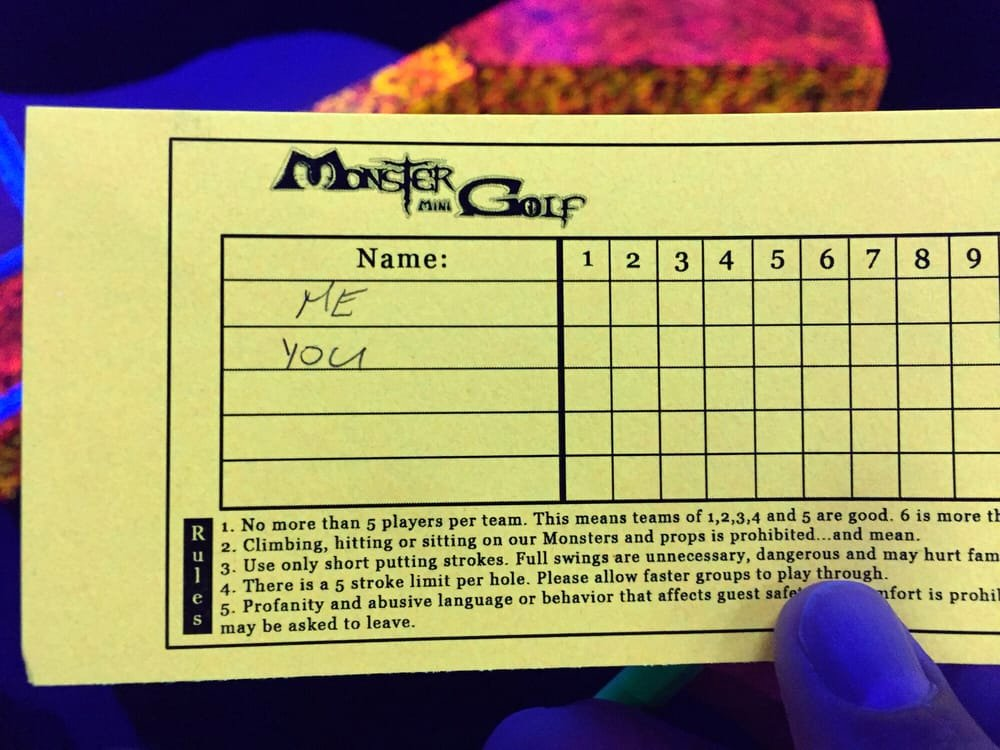 Mini Golf Score Cards Awesome Score Card Yelp