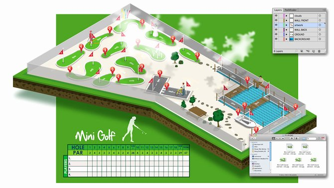 Mini Golf Score Cards Beautiful Mini Golf Putt Putt Course & Score Card isometric Illustration