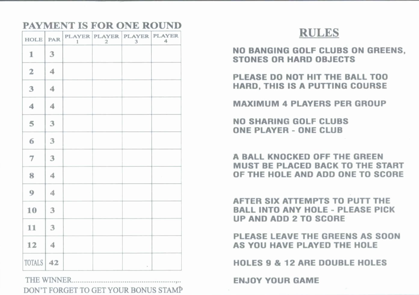Mini Golf Score Cards Beautiful Score Cards Of Crazy Golf Miniature Golf and Adventure