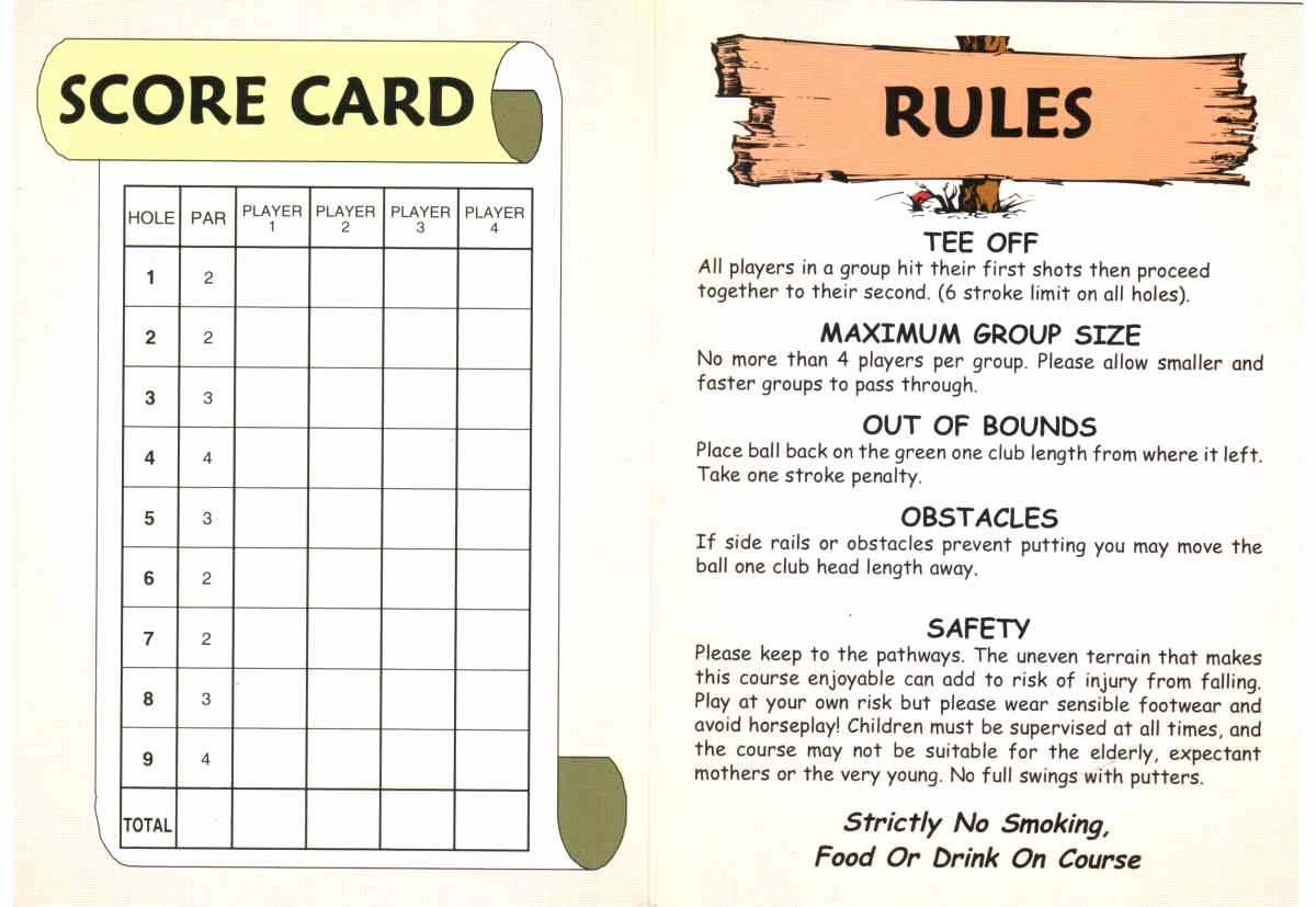 miniature golf score cards