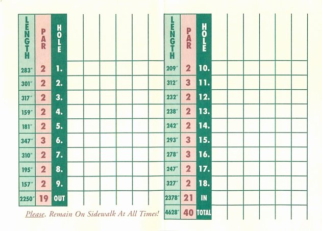 Mini Golf Score Cards Inspirational Score Cards Of Crazy Golf Miniature Golf and Adventure