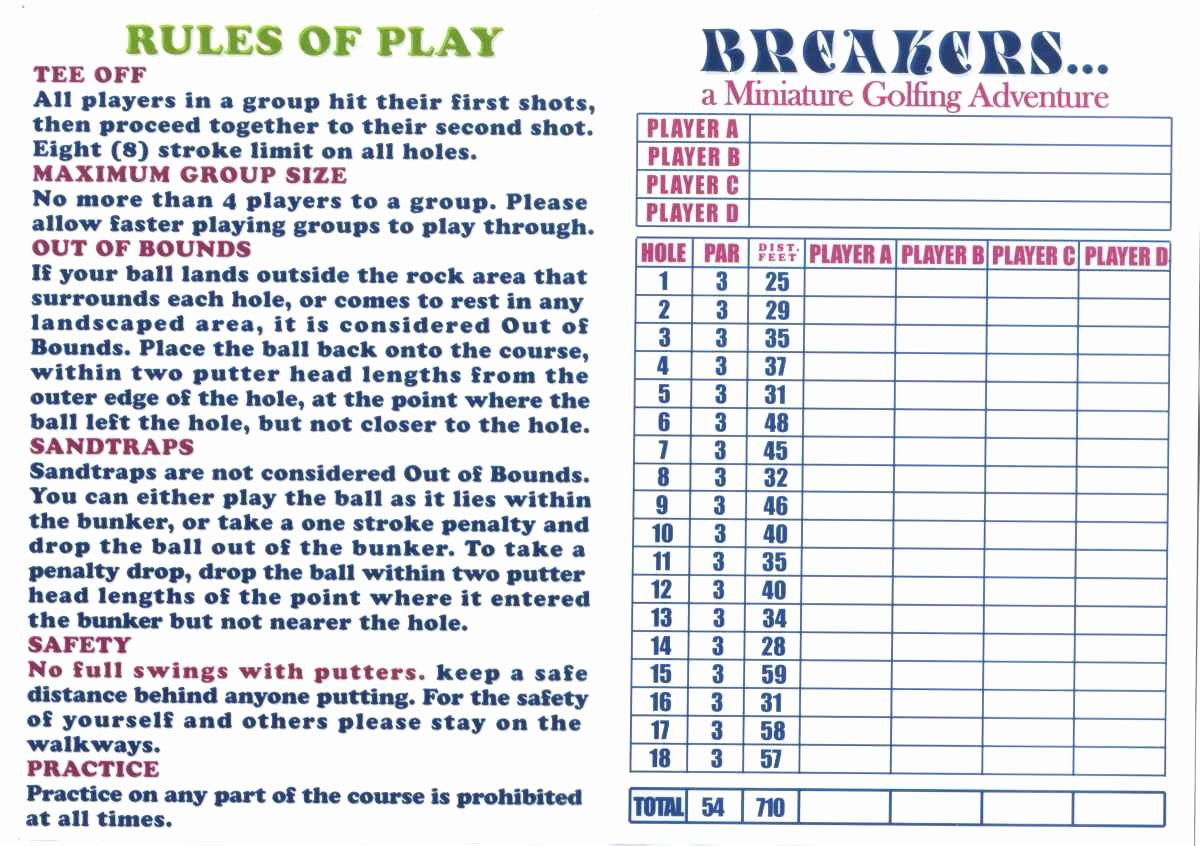 Mini Golf Score Cards Luxury Score Cards Of Crazy Golf Miniature Golf and Adventure