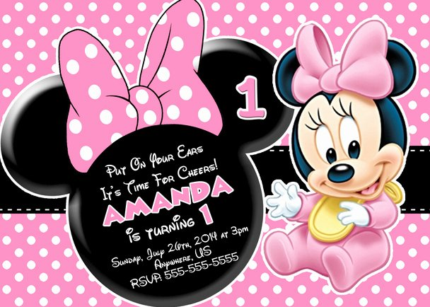 Minnie Mouse 1st Birthday Invitation Awesome Baby Minnie Mouse 1st Birthday Invitations