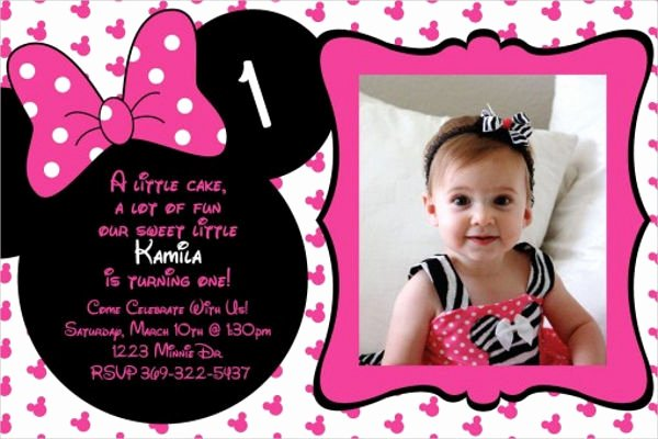 Minnie Mouse 1st Birthday Invitation Beautiful 20 Minnie Mouse Birthday Invitation Templates Psd Ai