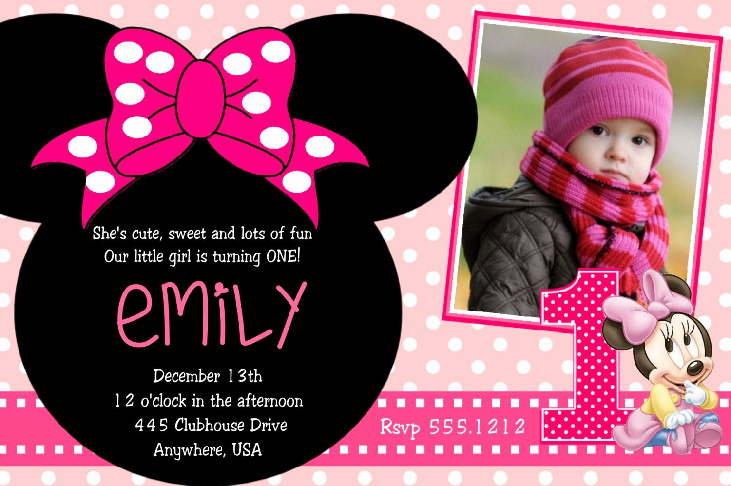 Minnie Mouse 1st Birthday Invitation Best Of Minnie Mouse 1st Birthday Invitations Printable Digital File