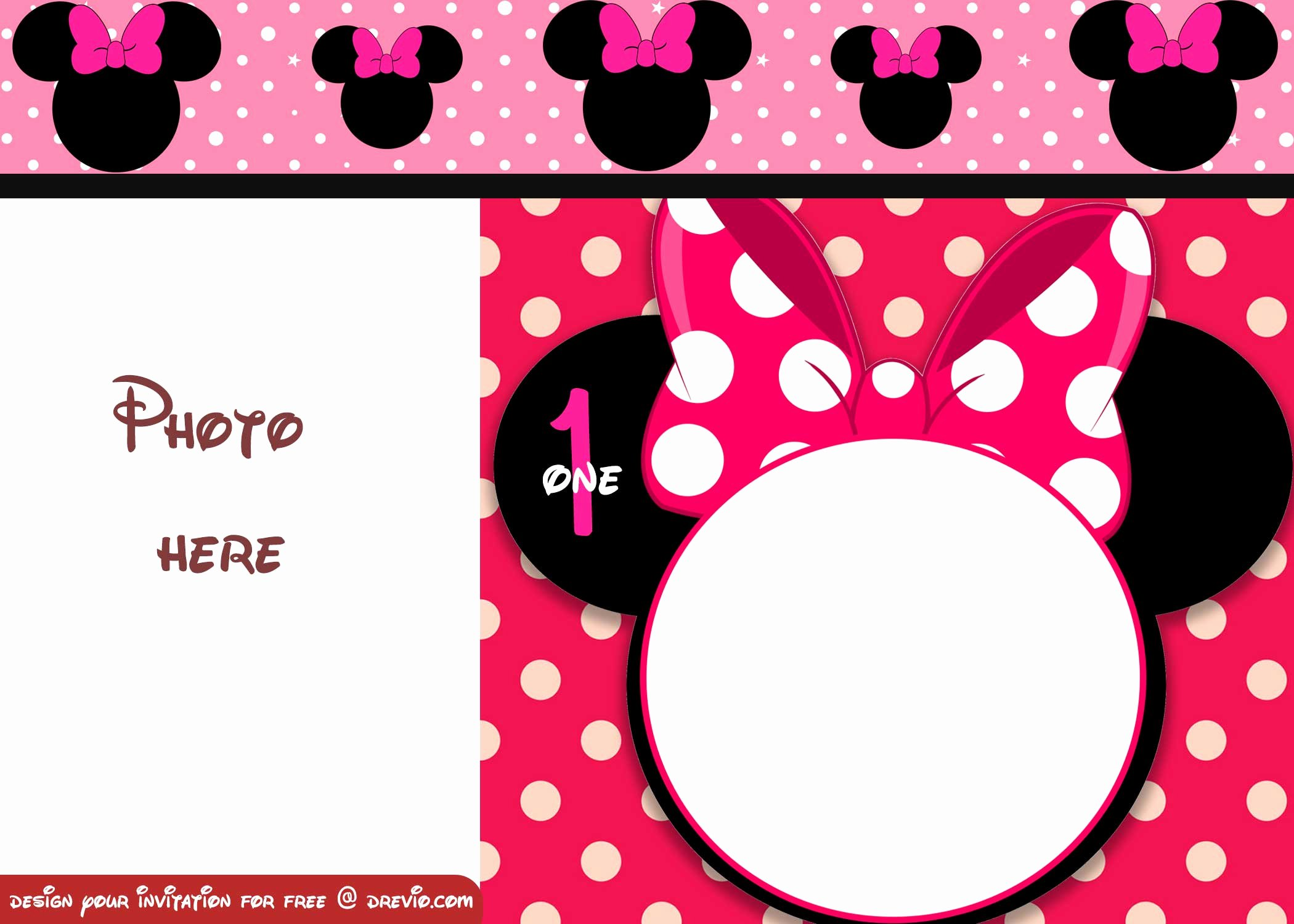 Minnie Mouse 1st Birthday Invitation Elegant Free Minnie Mouse Polka Dot 1st Birthday Invitation