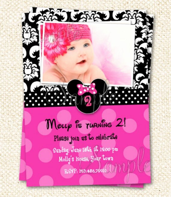 Minnie Mouse 1st Birthday Invitation Elegant Minnie Mouse Birthday Invitations