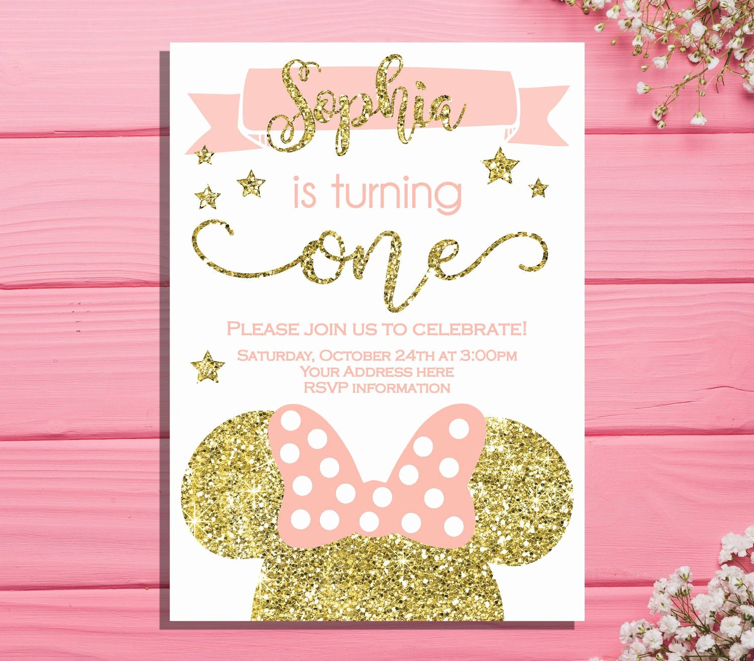 Minnie Mouse 1st Birthday Invitation Elegant Minnie Mouse First Birthday Invitation Minnie Birthday