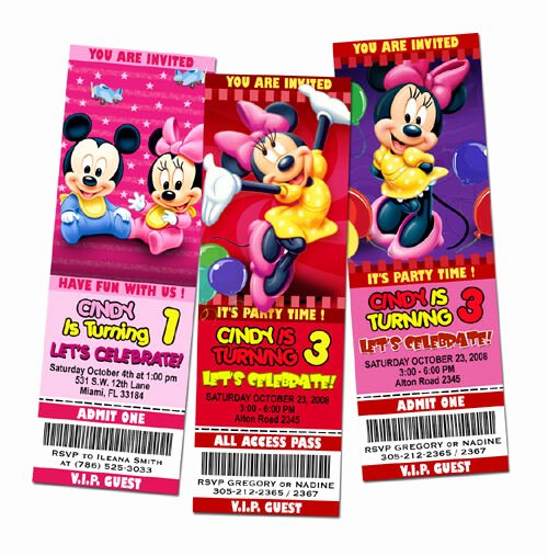 Minnie Mouse 1st Birthday Invitation Fresh Mickey Mouse Minnie Birthday Party Invitation Ticket Pink
