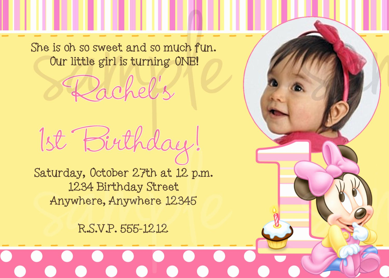 Minnie Mouse 1st Birthday Invitation Fresh Minnie Mouse First Birthday Invitation