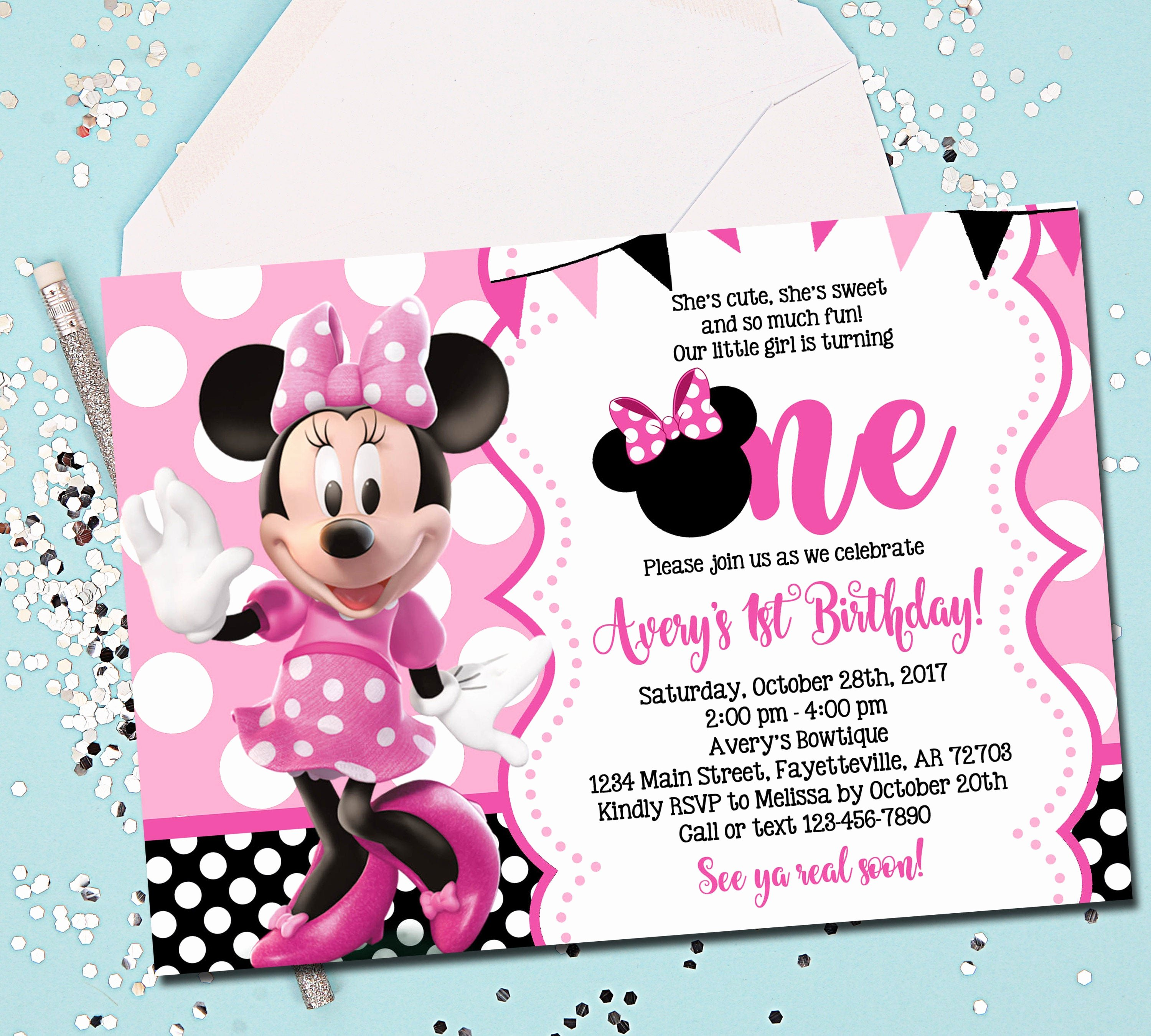Minnie Mouse 1st Birthday Invitation Fresh Minnie Mouse Invitation Minnie Mouse Birthday Invitation