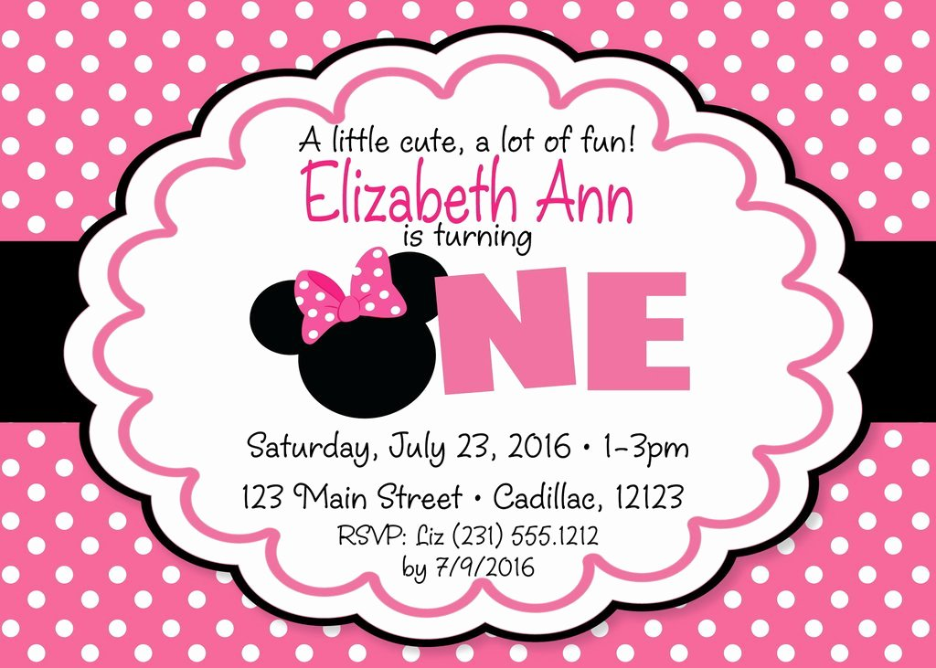Minnie Mouse 1st Birthday Invitation Inspirational Minnie Mouse 1st Birthday Invitation Pink