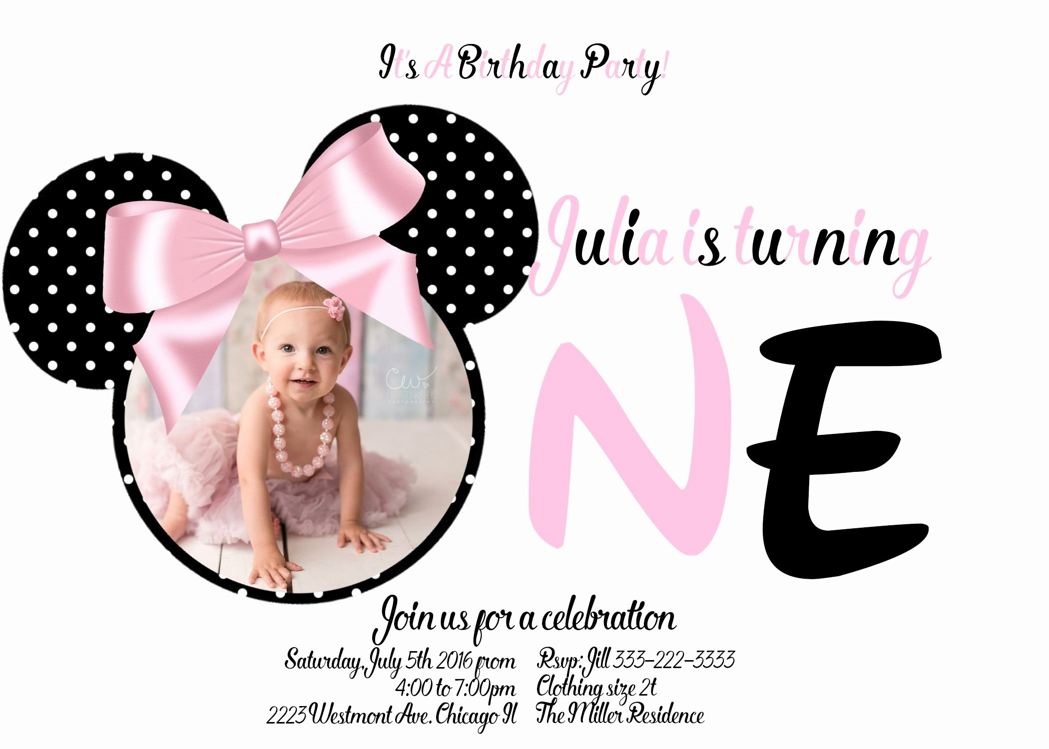 Minnie Mouse 1st Birthday Invitation Lovely Minnie Mouse First Birthday Invitation