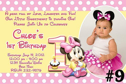 Minnie Mouse 1st Birthday Invitation New Minnie Mouse 1st Birthday Invitations