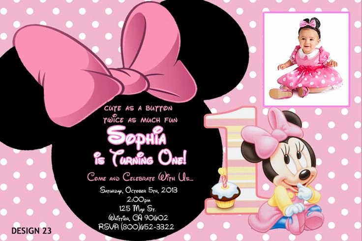 Minnie Mouse 1st Birthday Invitation Unique Baby Minnie 1st Birthday Invitations