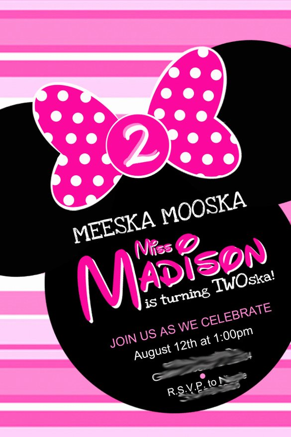 Minnie Mouse Birthday Invitation Wording Beautiful 26 Minnie Mouse Invitation Templates Psd Ai Word