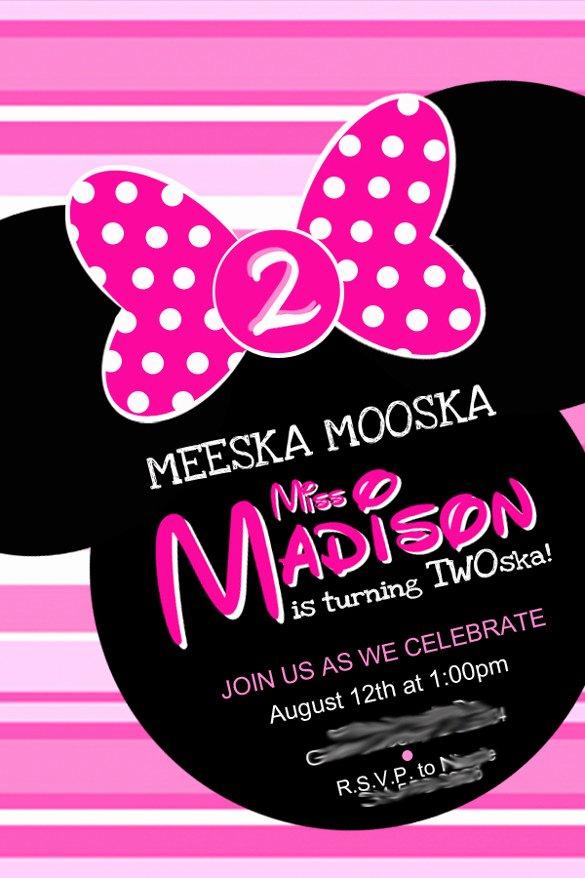 Minnie Mouse Birthday Invitation Wording Beautiful 26 Minnie Mouse Invitation Templates Psd Ai Word
