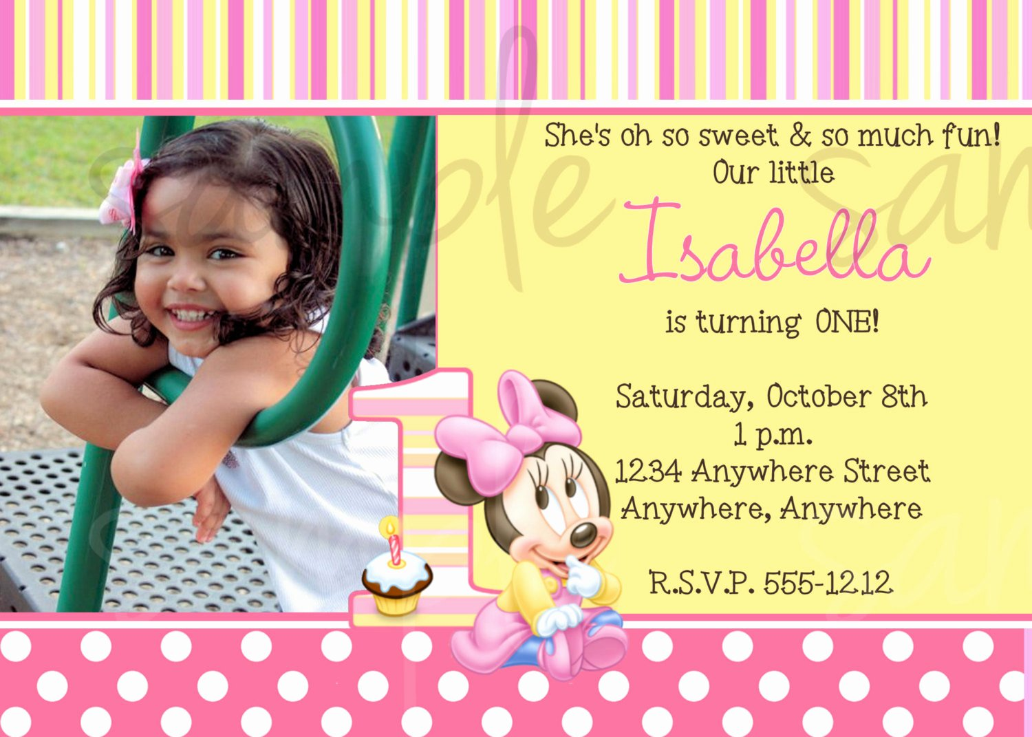 Minnie Mouse Birthday Invitation Wording Beautiful Minnie Mouse 1st Birthday Invitation