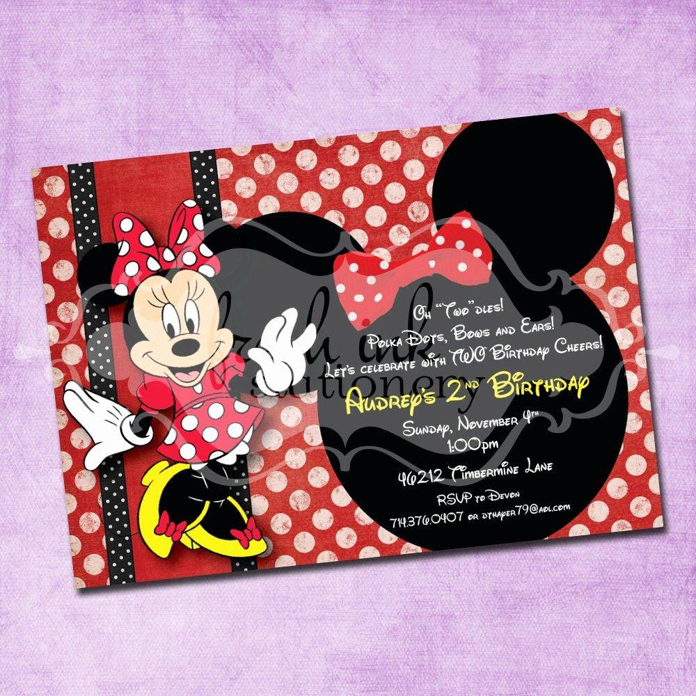 Minnie Mouse Birthday Invitation Wording Beautiful Red Polka Dot Minnie Mouse Birthday Invitation
