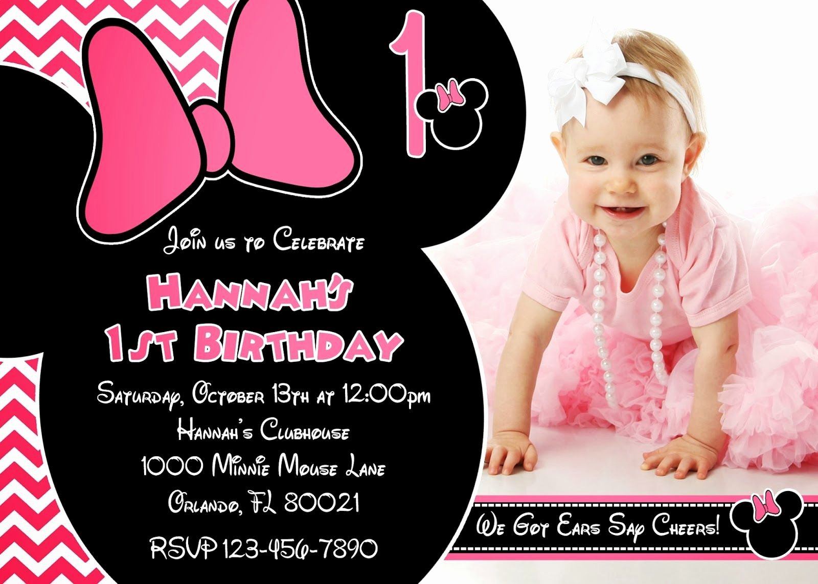 Minnie Mouse Birthday Invitation Wording Best Of E Year Old Birthday Party Invitations