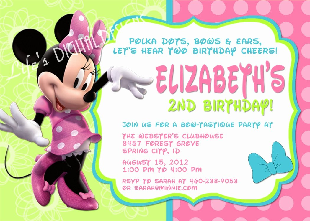 Minnie Mouse Birthday Invitation Wording Best Of Minnie Mouse Bowtique Invitations Birthday by