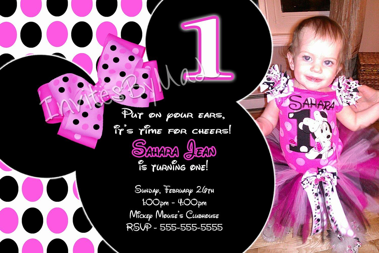 Minnie Mouse Birthday Invitation Wording Elegant Minnie Mouse Invitations 1st Birthday