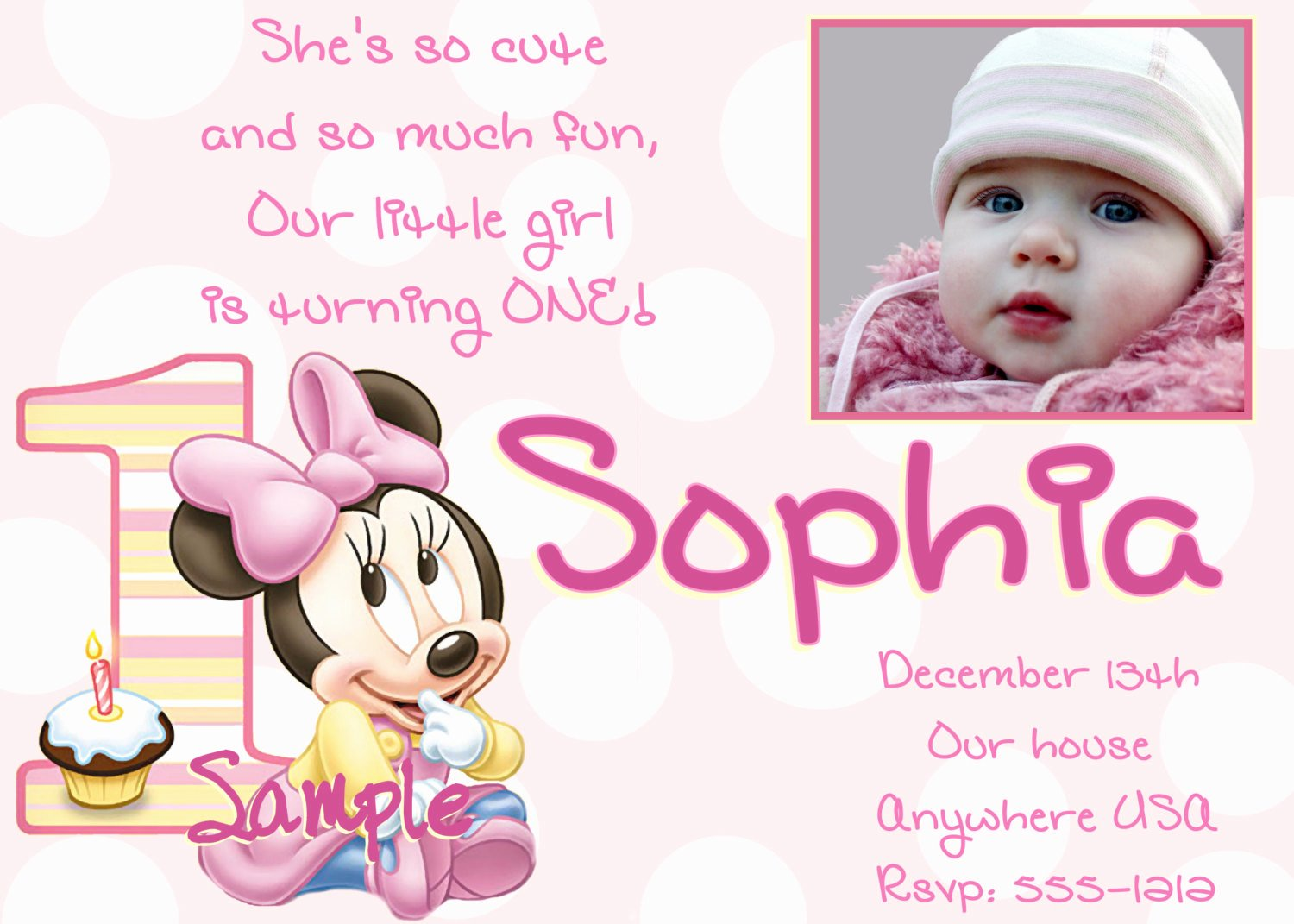 Minnie Mouse Birthday Invitation Wording Elegant Wording for 1st Birthday Invitations