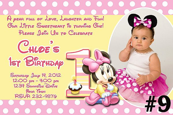 Minnie Mouse Birthday Invitation Wording Inspirational Baby Minnie Mouse First Birthday Invitation by Letspartyshoppe