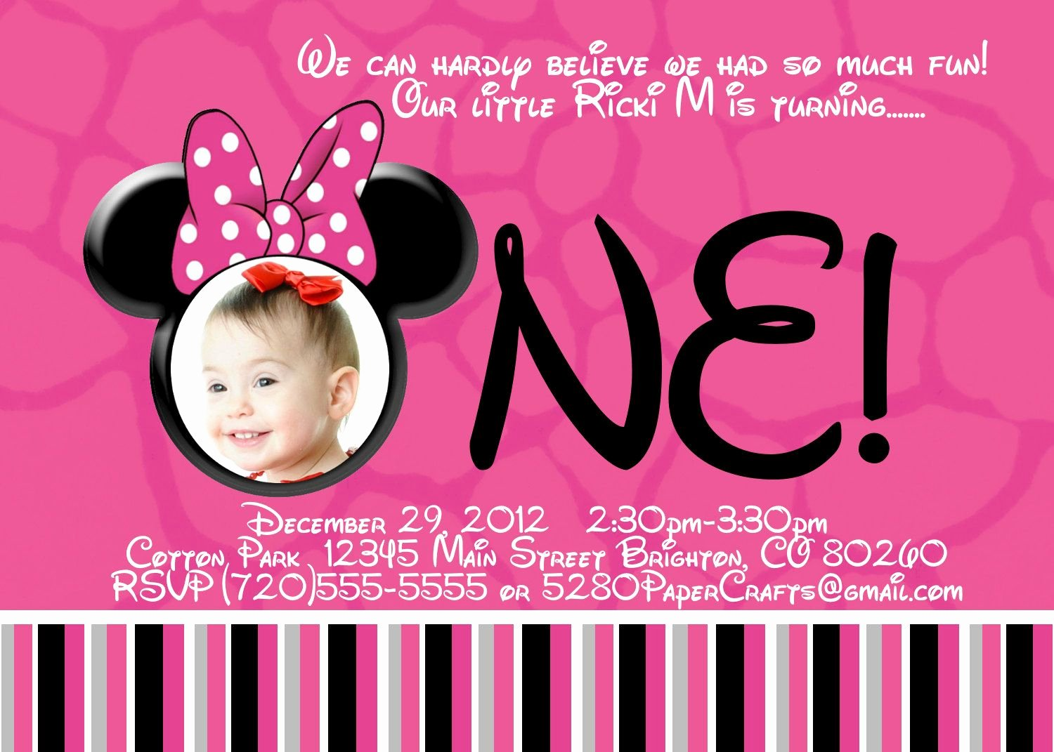 Minnie Mouse Birthday Invitation Wording Inspirational Free Printable Minnie Mouse 1st Birthday Invitations