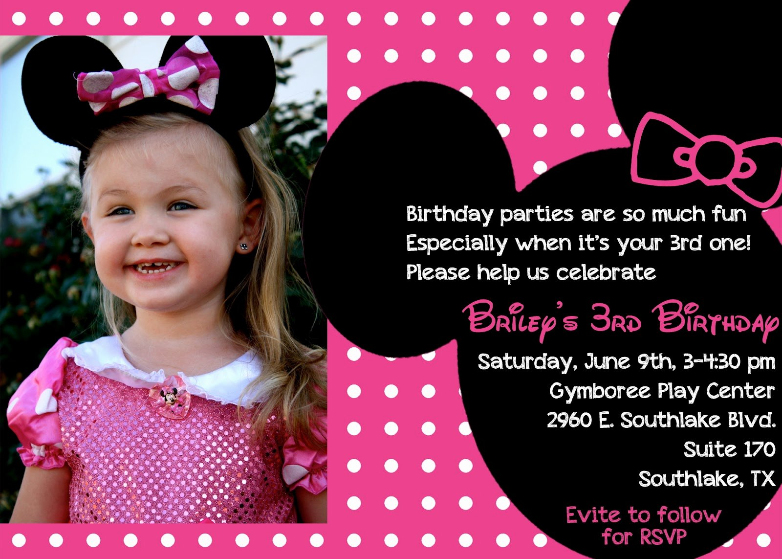 Minnie Mouse Birthday Invitation Wording Luxury the Bufe Family Minnie Mouse 3rd Birthday Party