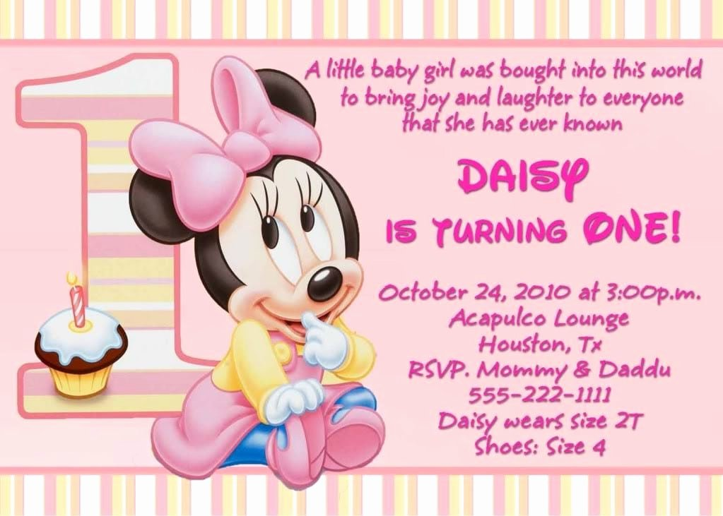 Minnie Mouse Birthday Invitation Wording New Minnie Mouse 1st Birthday Invitation Template