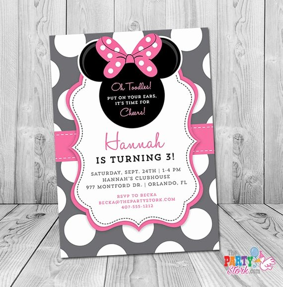 Minnie Mouse Birthday Invitation Wording New Minnie Mouse 3rd Birthday Invitation Minnie Mouse Birthday