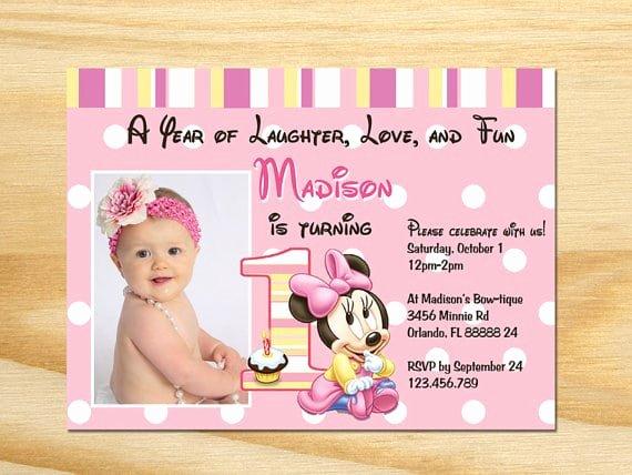 Minnie Mouse Birthday Invitation Wording New Minnie Mouse St Birthday Invitations