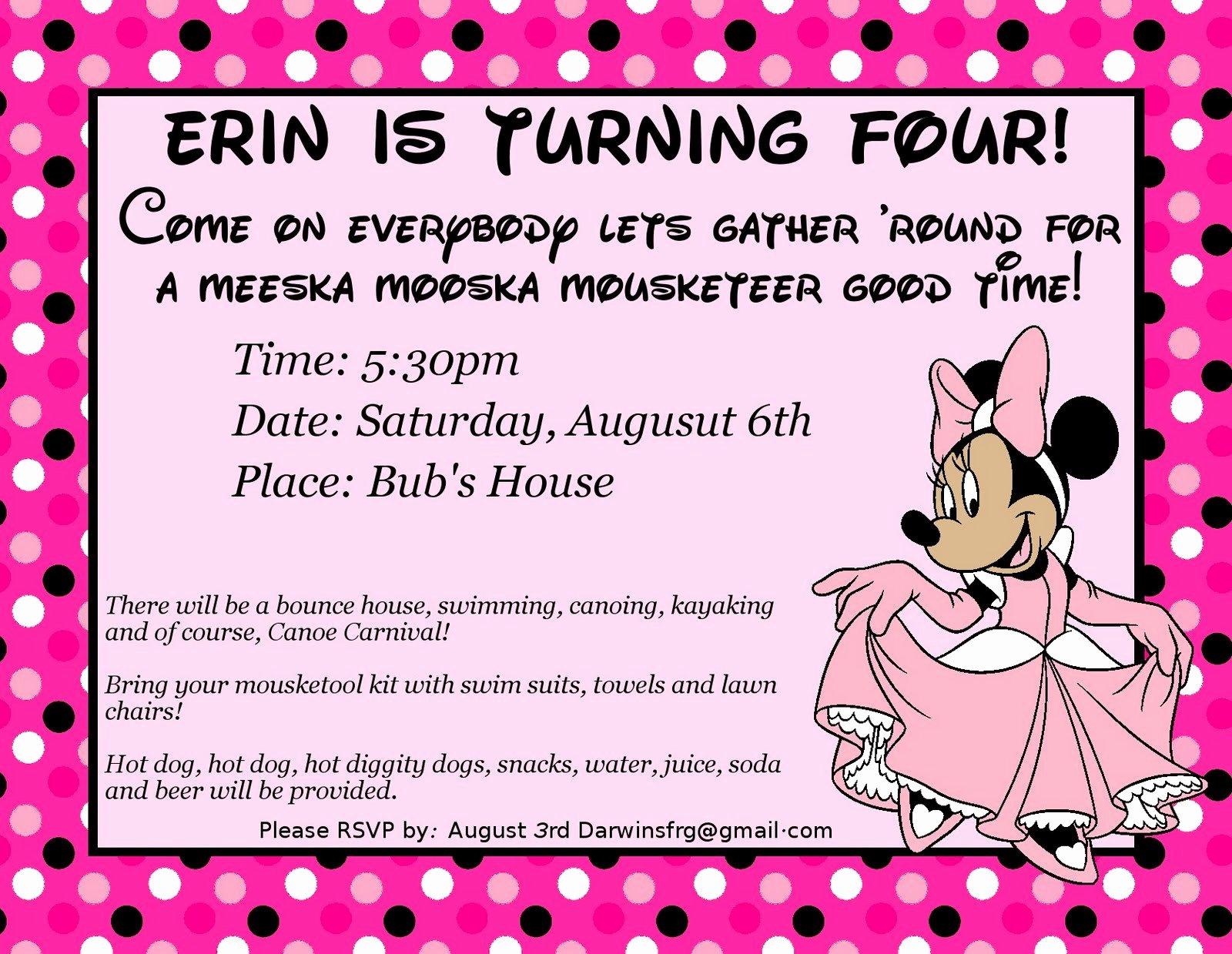 Minnie Mouse Birthday Invitation Wording Unique 4th Birthday Party Invitation Wording