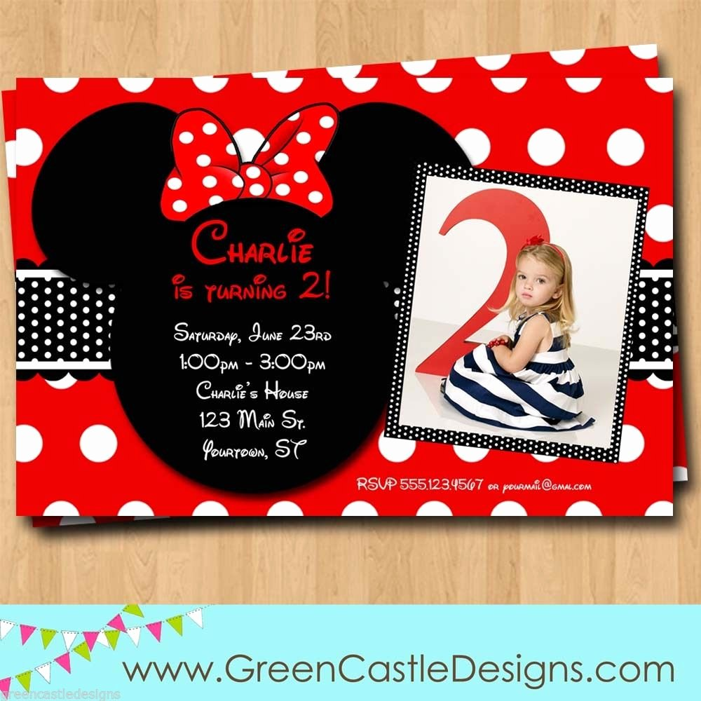 Minnie Mouse Birthday Invitation Wording Unique Free Customized Minnie Mouse Birthday Invitations Template