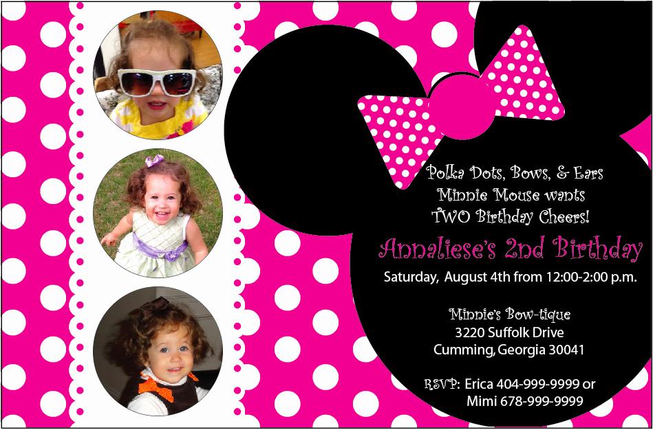 Minnie Mouse Birthday Invitation Wording Unique Minnie Mouse Birthday Invitations