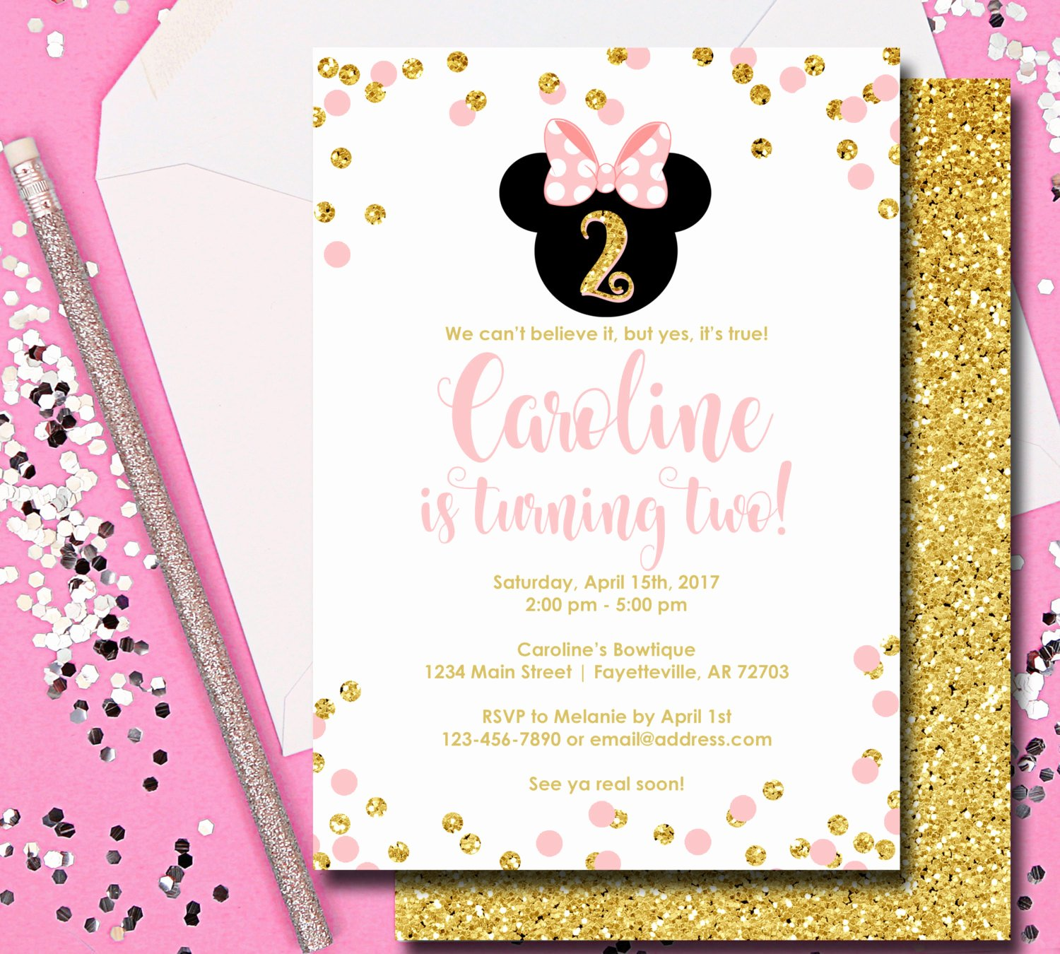 Minnie Mouse Birthday Invitation Wording Unique Minnie Mouse Invitation Minnie Mouse Birthday Invitation