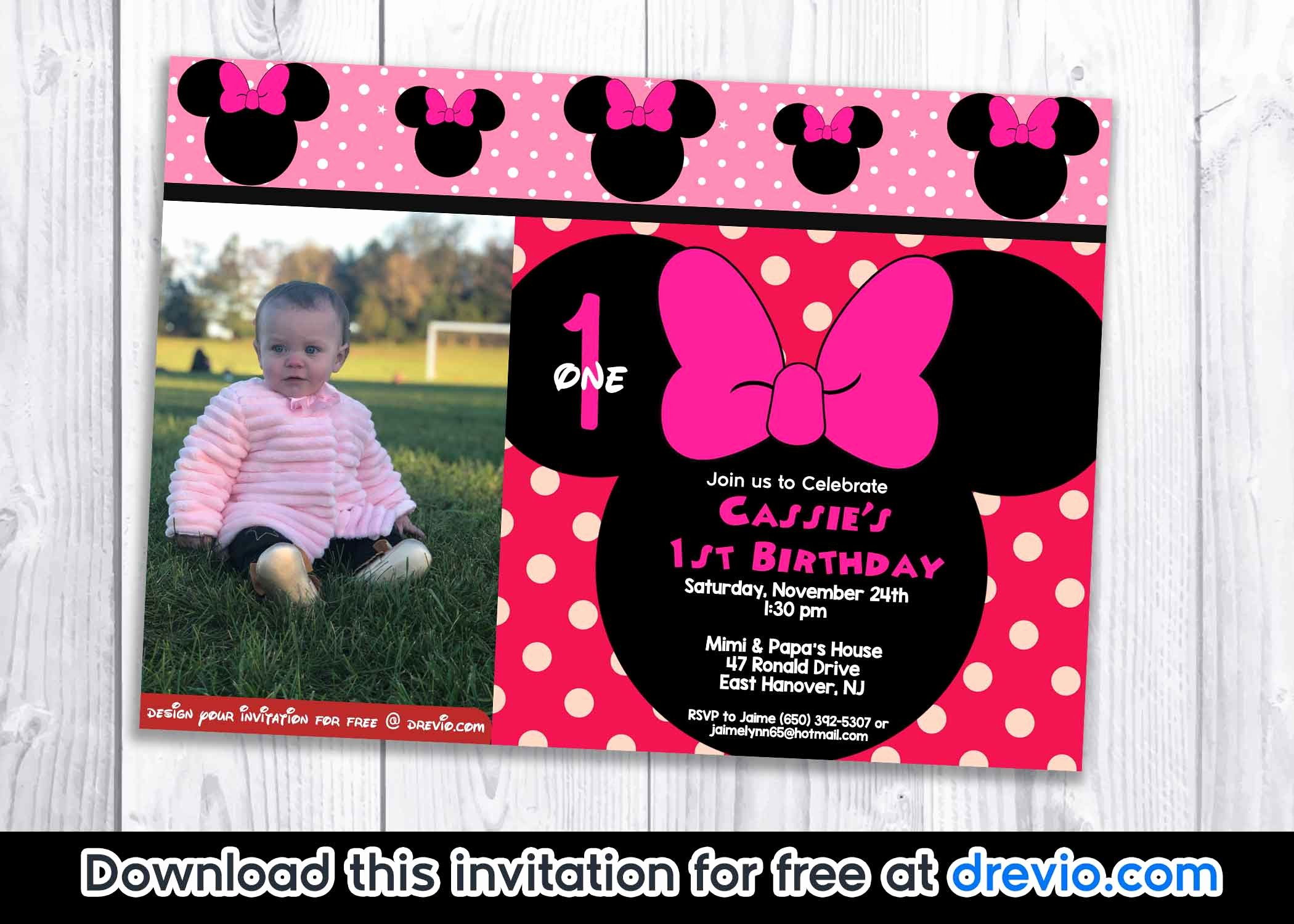 Minnie Mouse Blank Invitation Inspirational Free Minnie Mouse Polka Dot 1st Birthday Invitation