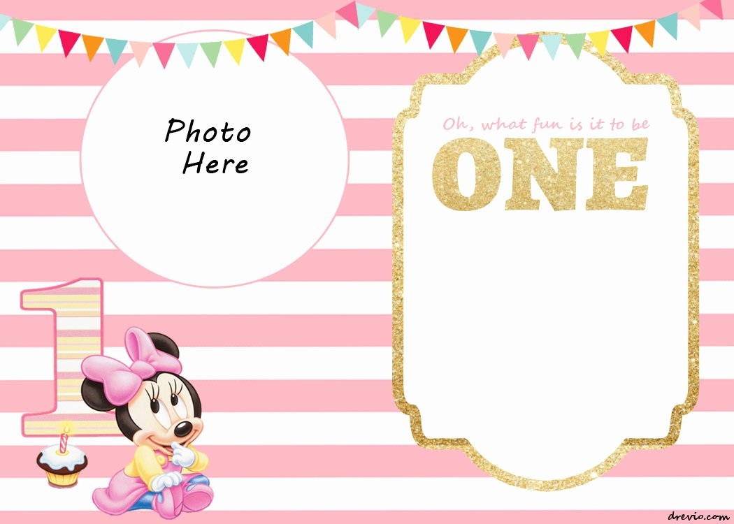 Minnie Mouse Blank Invitation Lovely Free Printable Minnie Mouse 1st Invitation Templates