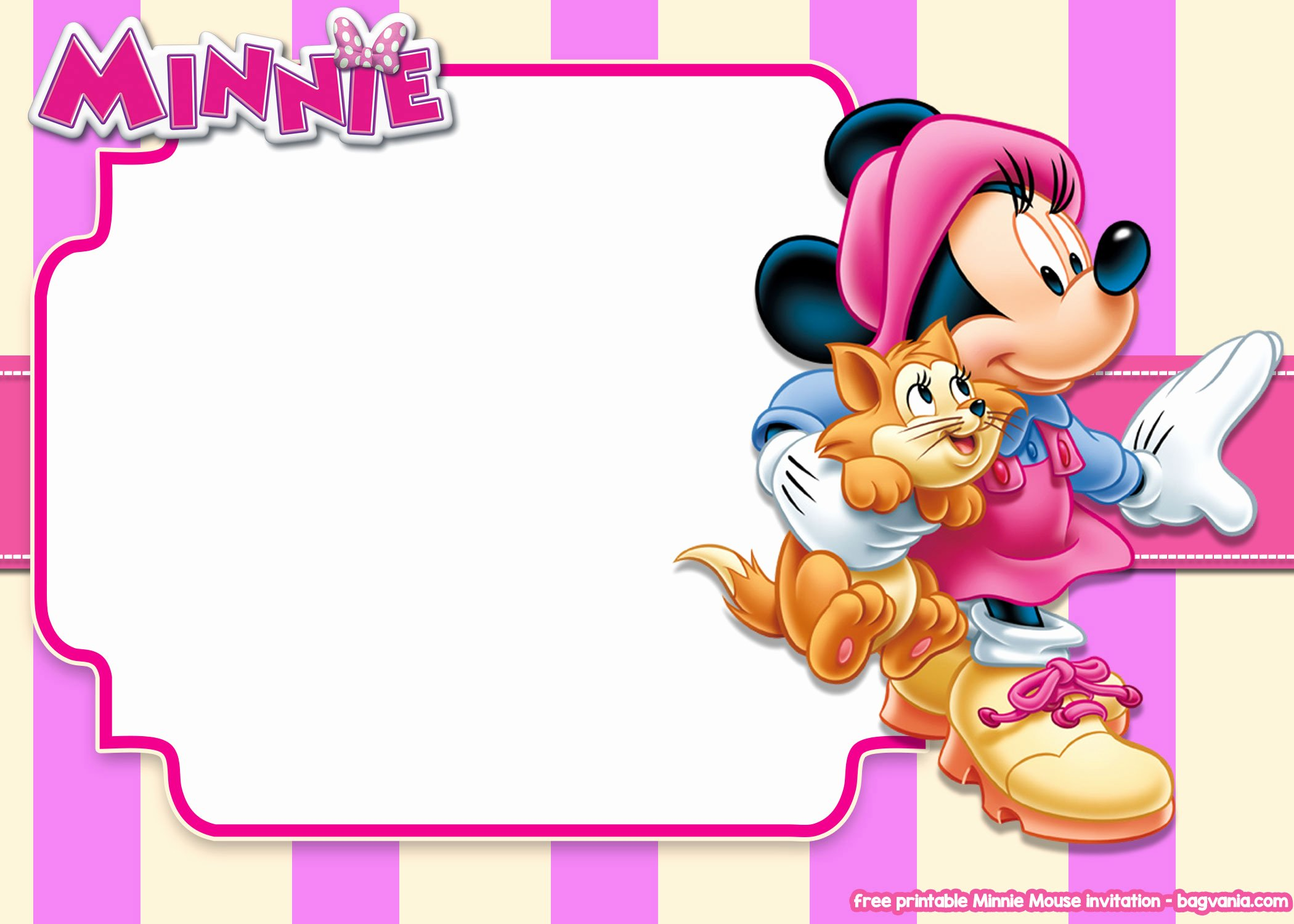 Minnie Mouse Blank Invitation Lovely Free Printable Minnie Mouse Pink Invitation Templates