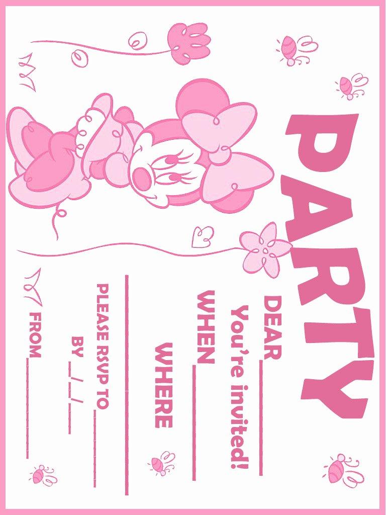 Minnie Mouse Blank Invitation Luxury Printable Minnie Mouse Birthday Invitations – Free