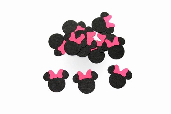 Minnie Mouse Bow Cut Out Lovely Minnie Mouse with Pink Bow Confetti Die Cut Cut Out