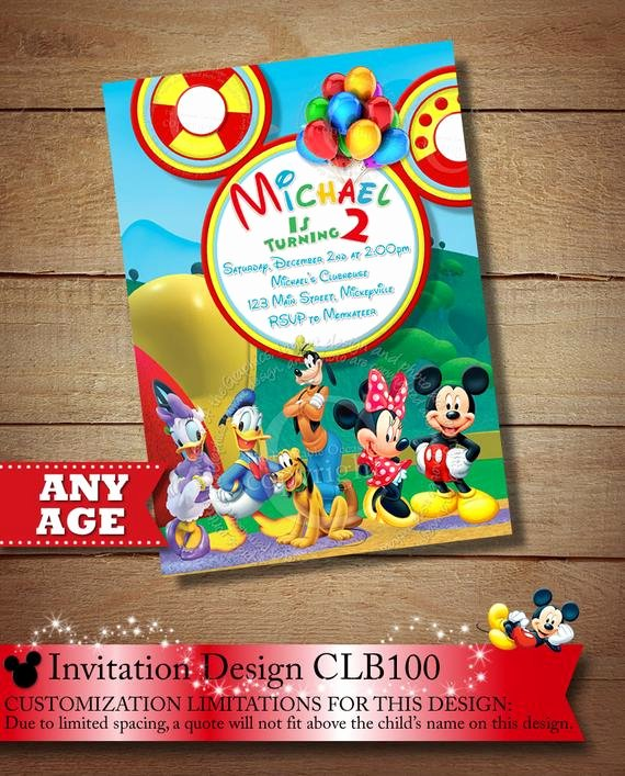 Minnie Mouse Clubhouse Invitations Beautiful Items Similar to You Choose Mickey Mouse Birthday