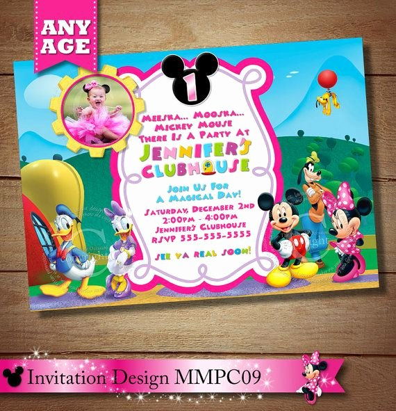 Minnie Mouse Clubhouse Invitations Beautiful Same Day Svc Minnie Mouse Clubhouse Invitation Mickey