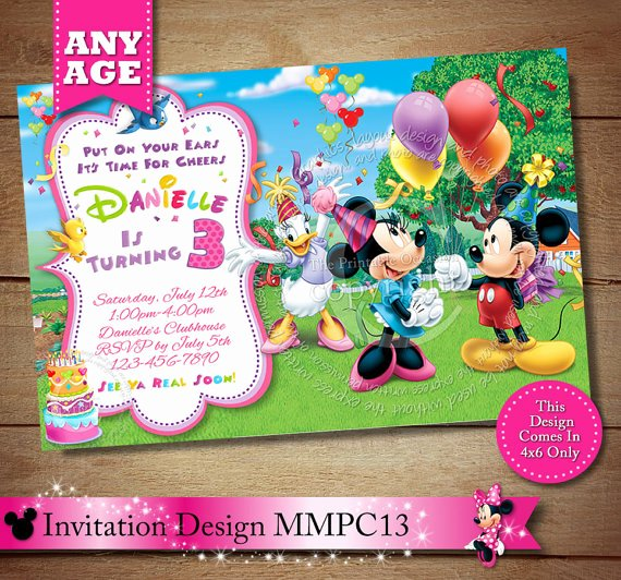 Minnie Mouse Clubhouse Invitations Fresh Girl S Mickey Minnie Mouse Clubhouse Birthday Invitation