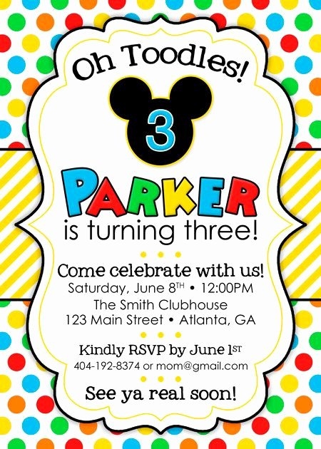 Minnie Mouse Clubhouse Invitations Inspirational Mickey Mouse Clubhouse Birthday Party Invitation