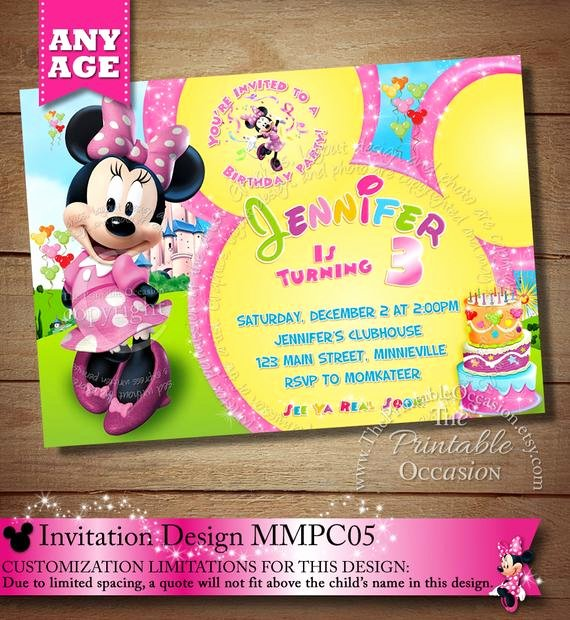 Minnie Mouse Clubhouse Invitations Luxury Same Day Svc Mickey Minnie Mouse Clubhouse Invitation
