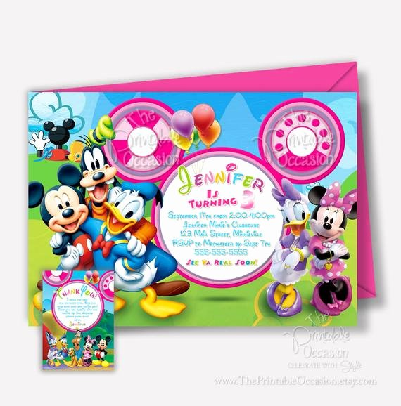 Minnie Mouse Clubhouse Invitations New Any Age Minnie Mouse Clubhouse Invitation Mickey Minnie