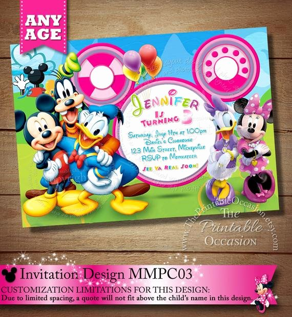 Minnie Mouse Clubhouse Invitations Unique Huge Selection Mickey Minnie Mouse by theprintableoccasion