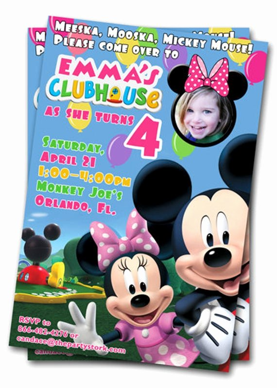 Minnie Mouse Clubhouse Invitations Unique Minnie Mouse Birthday Invitations Printable Custom Kids